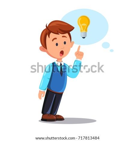 Businessman Character With Lightbulb Isolated On White Background Man Thinking Pointing At Light Bulb