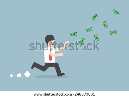 Businessman chasing falling dollar bills, VECTOR, EPS10 - stock vector