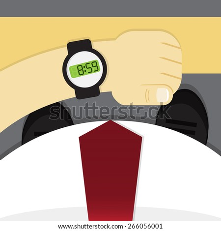 Businessman checking the time on his watch - stock vector