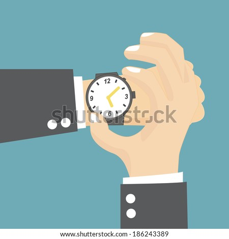 Businessman checking the time on his wrist watch - stock vector