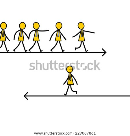 Businessman choose and walk on different direction from other, unique and different thinking concept. Simple character design.  - stock vector