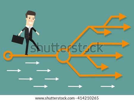 Businessman chooses the right path. Success, career. Business concept cartoon illustration. - stock vector