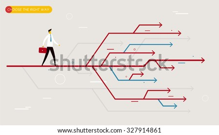 Businessman chooses the right path.  Vector illustration Eps10. Success, career - stock vector