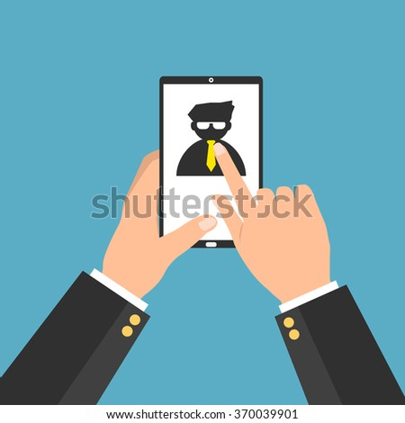 Businessman choosing the right personal the best candidate on internet smartphone tablet. Vector illustration recruitment and job search concept. - stock vector