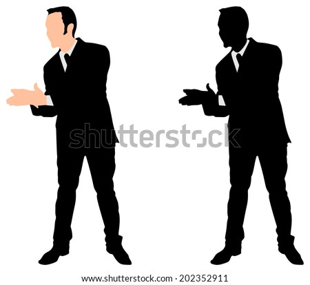 businessman clapping his hands, vector - stock vector