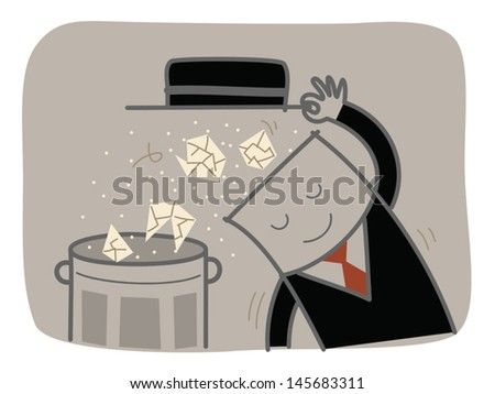 businessman clear junk and reset his brain - stock vector