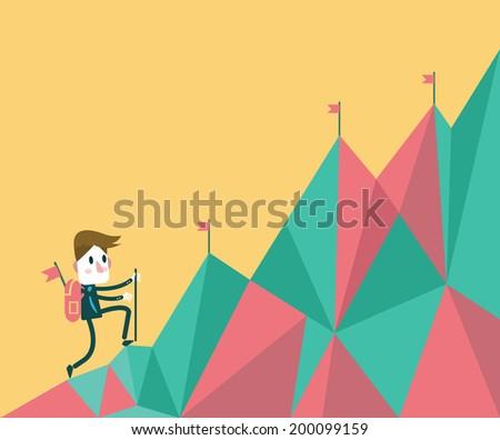 Businessman climbing hill. business target and leadership concept. flat design element vector - stock vector