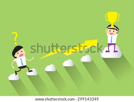 Businessman climbing ladder to Success. Vector illustration. Businessman climbing to goal. Motivation concept to be successful. winner. finish. win. flat design. graph.trophy cup. green background - stock vector
