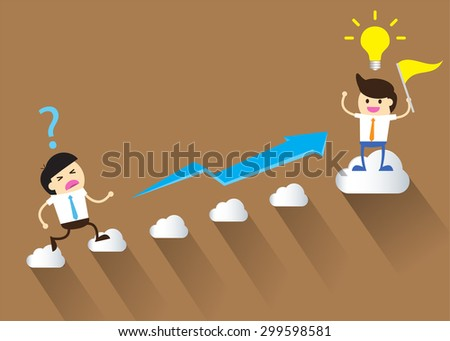 Businessman climbing ladder to Success. Vector illustration. Businessman climbing to goal. Motivation concept to be successful. winner. finish. win. flat design. graph. - stock vector