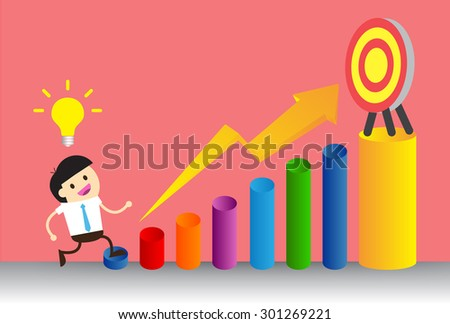 Businessman climbing ladder to Success. Vector illustration. Businessman climbing to goal. Motivation concept to be successful. winner. finish. win. flat design. graph - stock vector