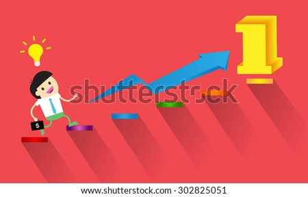 Businessman climbing ladder to Success. Vector illustration. Businessman climbing to goal. Motivation concept to be successful. winner. finish. win. flat design. graph. idea light bulb. number one - stock vector