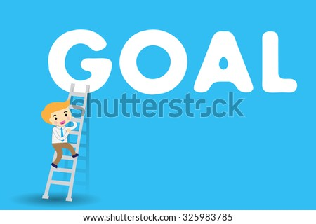 Businessman climbing ladder to Success. Vector illustration. Businessman climbing to goal. Motivation concept to be successful. winner. finish. win. flat design. blue background