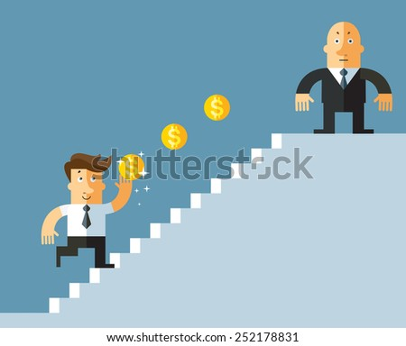 businessman climbing on staircase for money. Business flat vector illustration. - stock vector