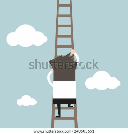 Businessman climbing the ladder - stock vector