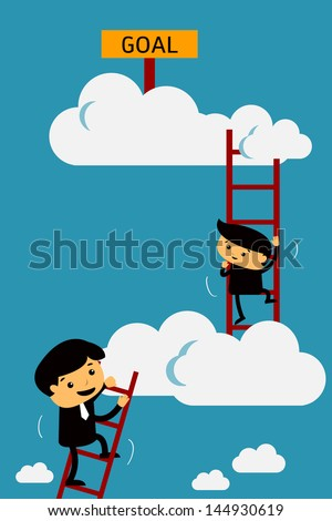 Businessman climbing to goal. Motivation concept to be successful. Vector illustration. Text can be changed to your design. - stock vector