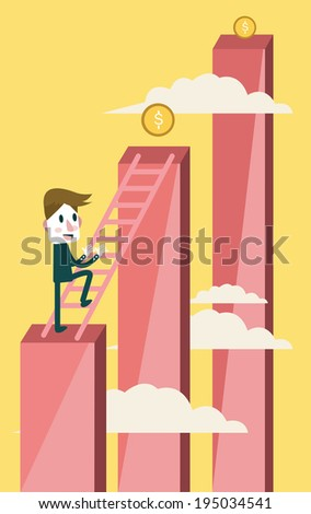 Businessman climbing to higher profit graph. business concept. vector - stock vector
