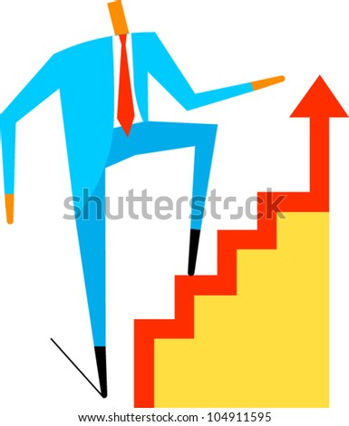 Businessman climbs stairs with up arrow - stock vector