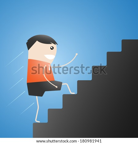 Businessman climbs the ladder of success, up on stairs Leap cartoon vector illustration - stock vector