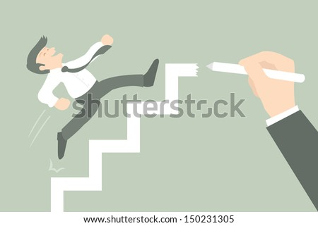 Businessman climbs the ladder of success, vector - stock vector