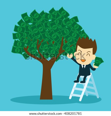 businessman collecting money from money tree. interest and dividend concept. - stock vector