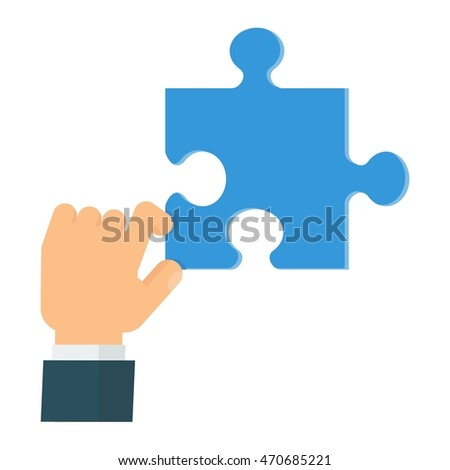 Businessman collects puzzles. Conceptual image problem solution. Cartoon flat vector illustration. Objects isolated on a white background.