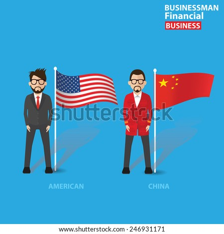 Businessman concept,cartoon character design on blue background,clean vector - stock vector