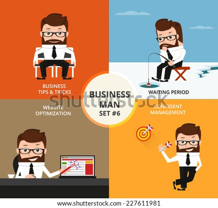 Businessman concept collection. Business tips and tricks, contract waiting, website optimization, target achievement - stock vector