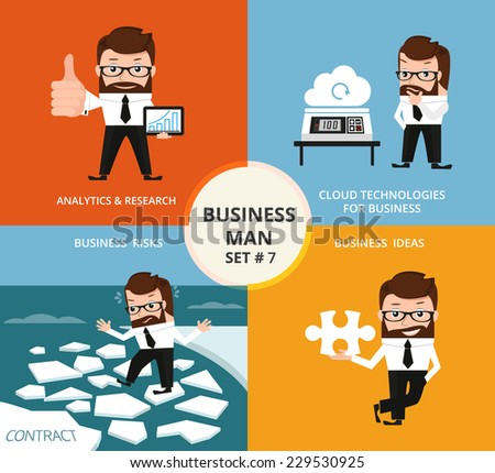 Businessman concept collection. Ranking and analytics, cloud technologies, business risks and ideas - stock vector