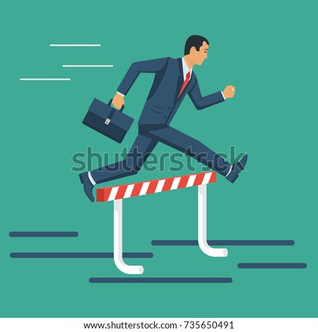 Businessman confidently jump over barrier. Hurdle on way. Overcoming obstacle on road people. Achieving goal. Vector illustration flat design. Isolated on background. Ambitious character man.