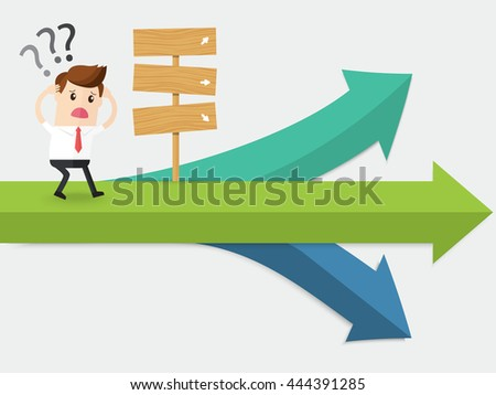 businessman confuse of thinking standing at crossroad - stock vector