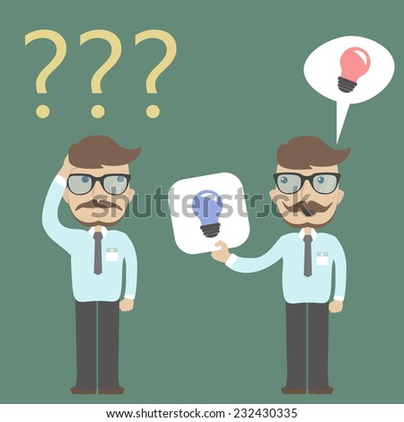 Businessman confused and businessman getting two ideas. - stock vector