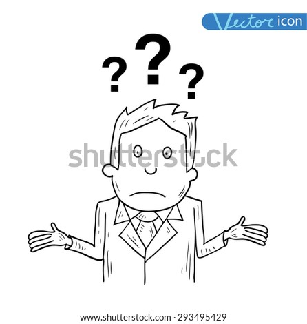 Businessman confused, vector illustration. - stock vector