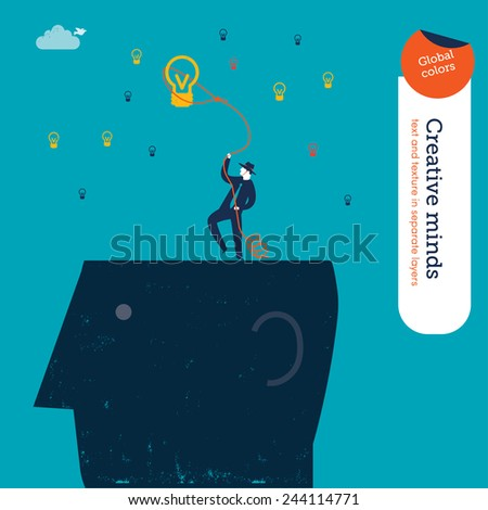Businessman cowboy on a head catching bulbs with lasso. Vector illustration Eps10 file. Global colors. Text and Texture in separate layers. - stock vector