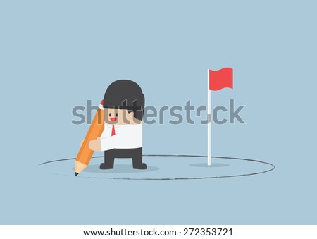 Businessman create his own territory, VECTOR, EPS10 - stock vector