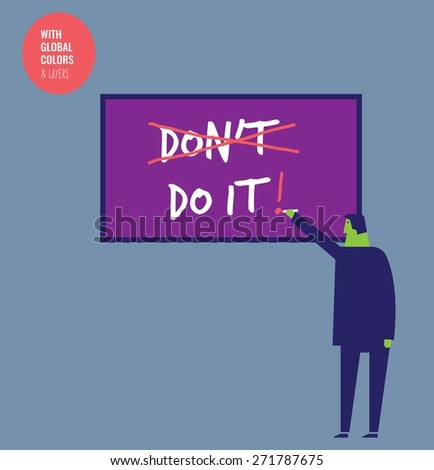Businessman crossing out don't do it and letting do it.  Vector illustration Eps10 file. Global colors&layers. - stock vector