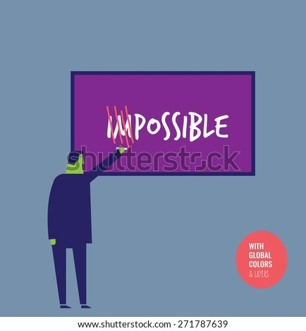 Businessman crossing out the word impossible.Vector illustration Eps10 file. Global colors&layers. - stock vector