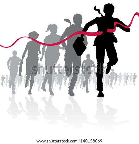 Businessman crossing the finish line  - stock vector