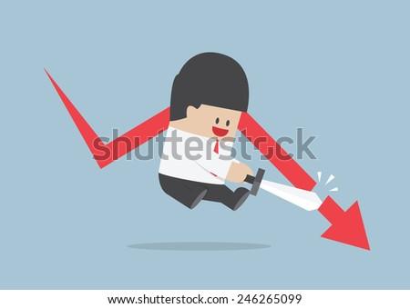 Businessman cut the falling graph, Stock market, Financial concept, VECTOR, EPS10 - stock vector