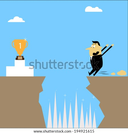 Businessman dare not jump to the trophy illustration. - stock vector
