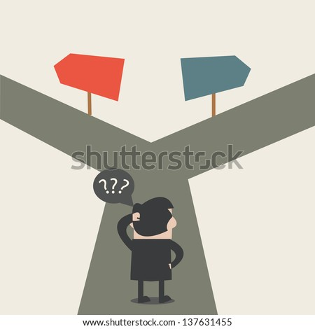 Businessman do not know where to go - stock vector