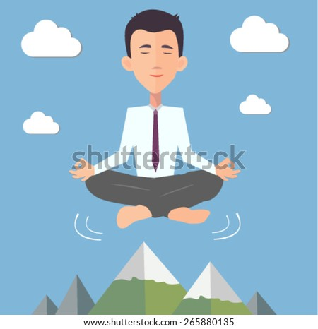 businessman doing yoga in the air - flat design vector - stock vector