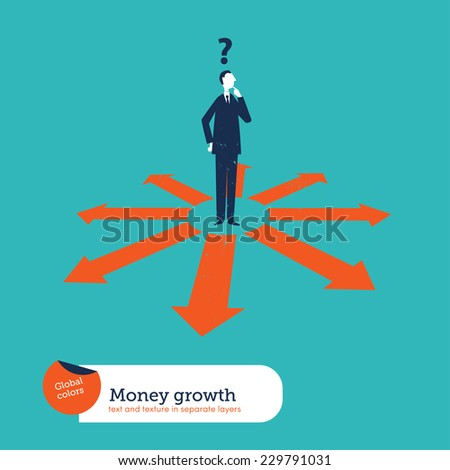 Businessman doubting which direction is the best. Vector illustration Eps10 file. Global colors. Text and Texture in separate layers. - stock vector