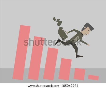 Businessman DownChart - stock vector