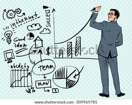 Businessman drawing business concept of success. Pop art retro style - stock vector