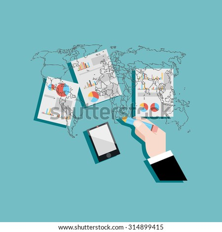 businessman drawing business connection with world map - stock vector