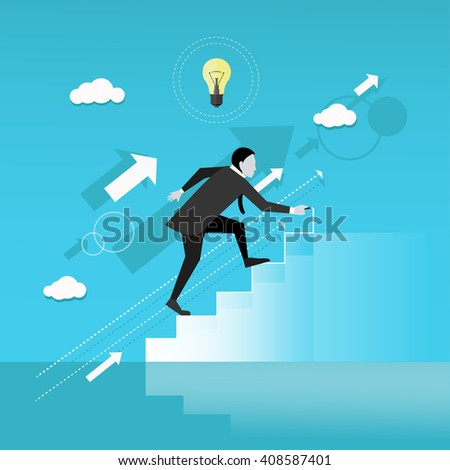Businessman draws stairs and walking up. Business concept vector illustration. Reaching goal. Growth to success. - stock vector