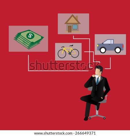 Businessman dream at coffee break. - stock vector