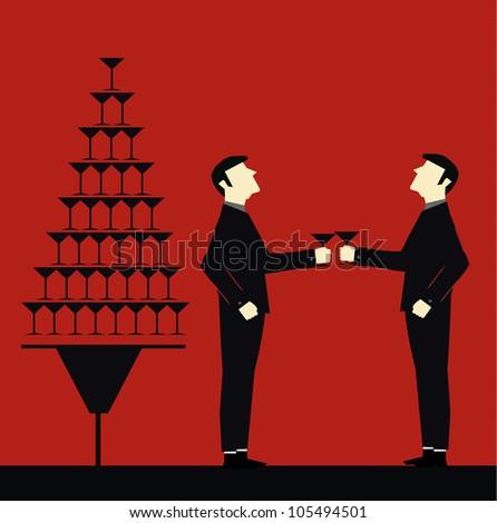 businessman drink toasting - stock vector