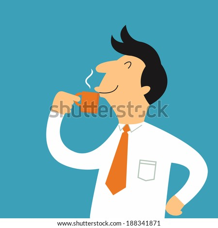 Businessman drinking hot coffee from a cup during take a break, business concept in relaxation.  - stock vector