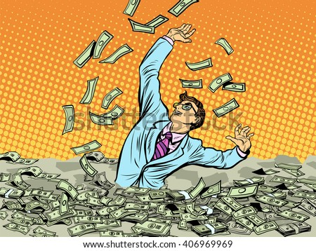 Businessman drowning in money - stock vector